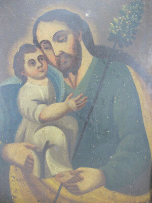Antique 18th c Spanish Colonial Cuzco Joseph & Christ Child Oil/Tin Painting yqz