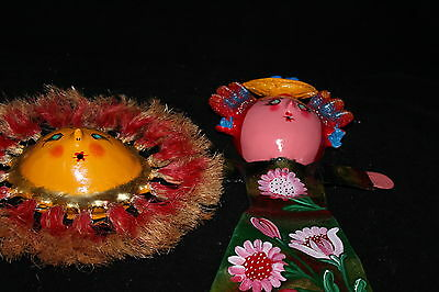 377 SUN and DOLL MEXICAN COCONUT WALL DECOR solecito-muñeca decorative figures