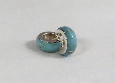 Mexico 950 Silver Turquoise Hoop Earrings