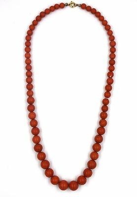 """Antique Natural Rare Red Coral Graduated 5.5Mm - 9.5Mm Bead 16"""" Necklace"""
