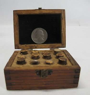 Antique Miniature Watchmakers Watch Repair Dovetailed Box Vials Parts Rubies yqz