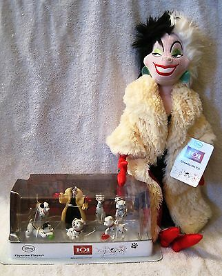New - Disney Store Exclusives- 101 Dalmatians Figure Set + Cruella Deville Plush