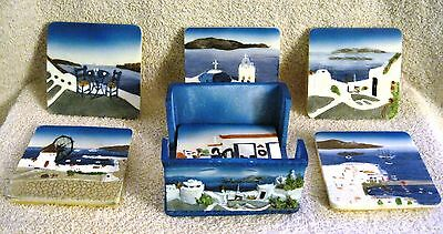 Beautiful - Ceramic Tile - Hand-Painted - Made In Italy - 6 Coaster Set W/holder