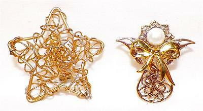 Christmas Star & Angel Pins Goldtone Wire Holiday Jewelry