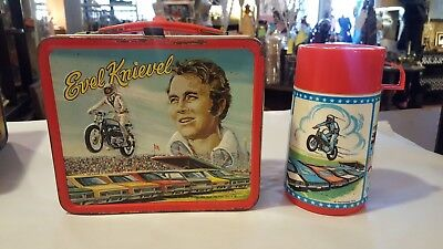 1974 Evel Knievel Metal Lunch Box With Thermos Aladdin xlnt cond!!