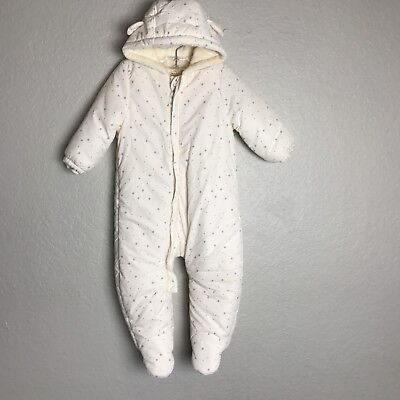 ZARA Mini Collection Infant Baby Snowsuit White Gray Stars Zip Up Cozy 9-12 Mos