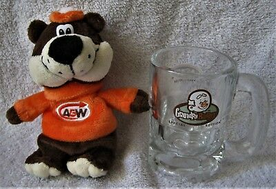 Rare - A&w - Baby Bear Rootbeer Glass Mug With Plush Rootbear Toy - Collectible!