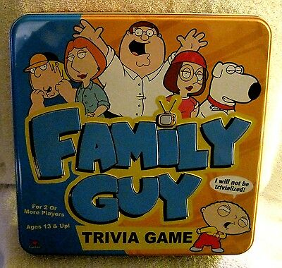 Like-New - Family Guy - Trivia Game - Metal - Tin Case - Complete - Great Gift!!