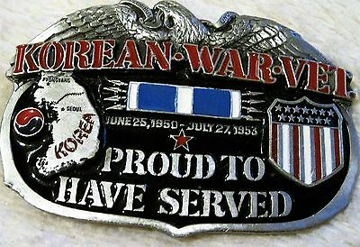 1988 - Numbered - Korean War Vet - Proud To Have Served - Belt Buckle - Rare!