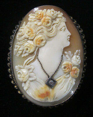 Estate Antique Victorian 10k Gold Carved Shell Cameo&Diamond Brooch Pendant yqz