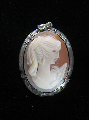 Estate Antique 19th c Victorian 800 Silver Shell Cameo & Marcasite Pendant yqz