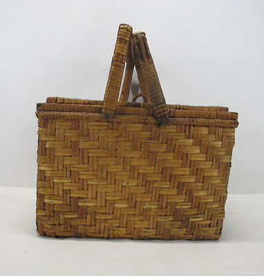 Antique Hand Woven Splint Picnic Market Basket with Wooden Pie Tray Insert  yqz