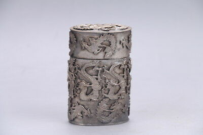 Chinese chinese hand carved dragon Tibetan silver Tobacco box   e3