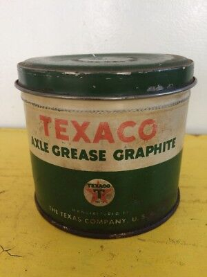 Vintage TEXACO 1 Pound AXLE GREASE GRAPHITE Metal Can Texaco Star