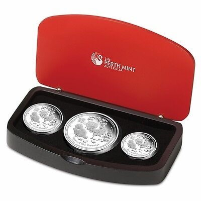 2017 Australian Lunar Year of the Rooster Silver Proof 3 Coin Set