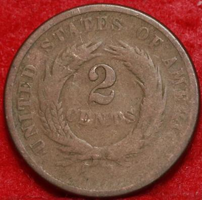 1864 Copper Philadelphia Mint Two Cent Coin Free Shipping