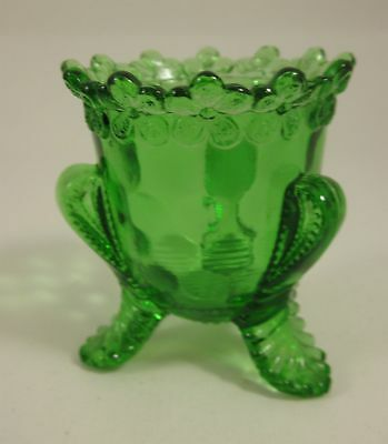 US Glass Company Green Depression Vermont Honeycomb and Flower Toothpick Holder