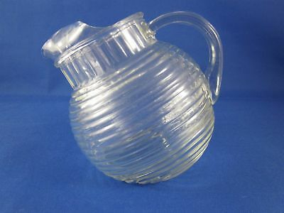 Vintage Anchor Hocking Manhattan Pattern Tilting Ball Glass Pitcher Jug - 24 oz