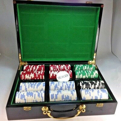 Cool High Gloss Poker Chip Case, Suit Symbol Design Holds 500 Heavy Clay Chips