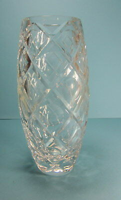 Vintage  Diamond Cut Heavy Crystal Vase 8 3/4""