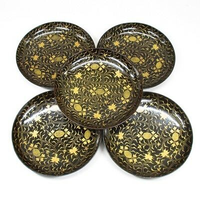 H781: High class Japanese old lacquerware five plates with very good MAKIE.