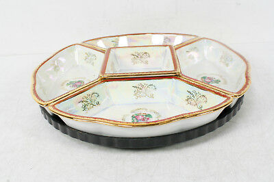Imperial Fine Porcelain Iridescent Hand Painted Serving Tray Platter