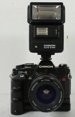 Chinon CP-5 Twin Program With Power Winder Seikanon Macro Zoom Lens & Auto Flash