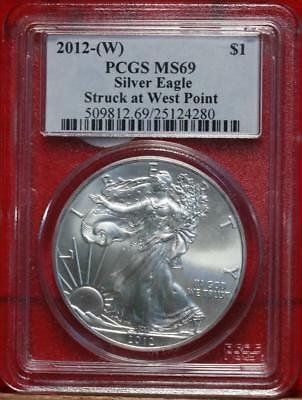 Uncirculated 2012-W West Point Mint American Eagle Silver Dollar Free S/H