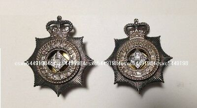 Collectible (2pcs) Hong Kong Customs & Excise Dept Pin Badge,gold/silver, used