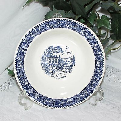 """Homer Laughlin Shakespeare Blue Stagecoach 7 1/4"""" Rim Cereal Soup Bowl"""