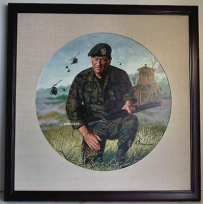 Robert Tanenbaum Original John Wayne Green Berets Art Work, Franklin Mint Plate