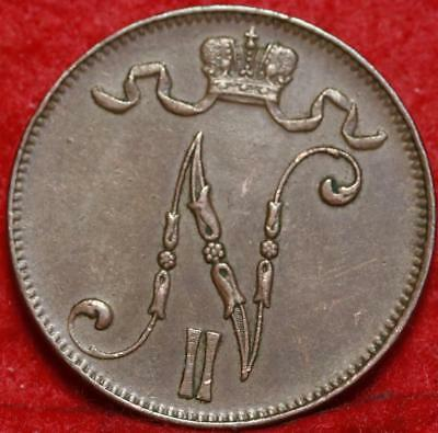 1913 Finland 5 Pennia Foreign Coin Free S/H