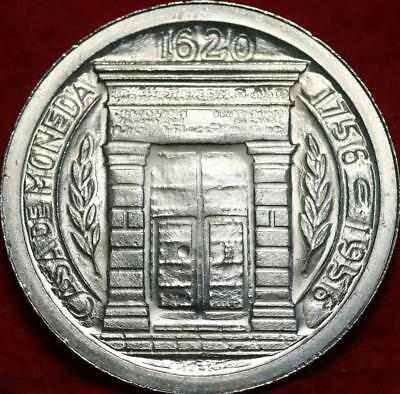 Uncirculated 1956 Colombia Peso Silver Foreign Coin Free S/H