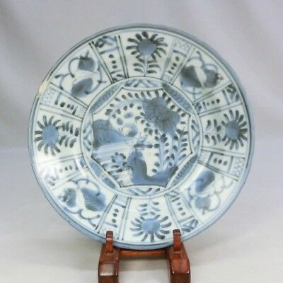 A128: Japanese old IMARI blue-and-white porcelain plate Popular FUYO-DE.