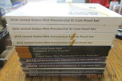 2007-2016 Presidential Dollars United States Proof Sets in boxes of issue  #MF
