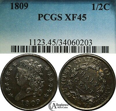 1809 1/2c Classic Head Half Cent PCGS XF45 BN rare old type coin money