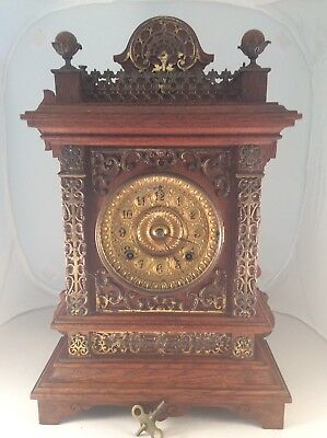 Ansonia Cottage Gingerbread Mantle Clock With Brass Fretwork Working Order