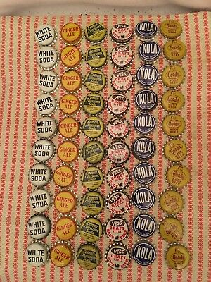 60 Cork Lined Vintage Soda Bottle Caps Chippewa Falls WI Vess Goody Kola White