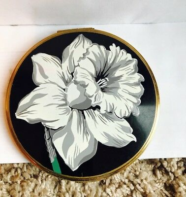 RARE Vintage 1950s VOLUPTE White Flower Art Deco Powder Compact