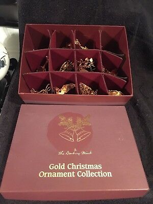 The Danbury Mint  Gold Christmas Ornament Collection - Lot of 12 COMPLETE