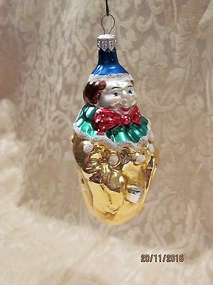 Vtg. Mercury Glass Clown Christmas Ornament,5.25 In.