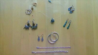 Bulk lot used Jewellery fashion and sterling silver earrings bracelet necklace