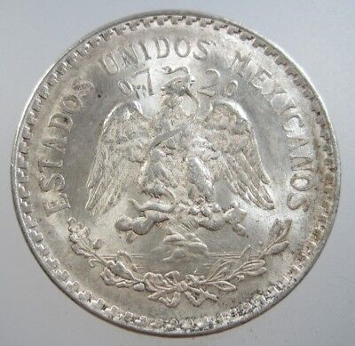 Mexico 1 Peso 1944 Silver Gem Bu #a Full Luster Crown Mexican Cap Rays Nr Coin