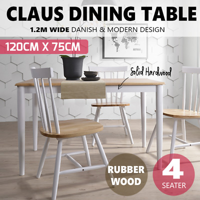 CLAUS 1.2M 4 Seater Dining Table Solid Rubberwood Timber Cafe Scandinavian Oak