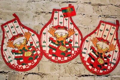 Vintage GARFIELD the CAT Christmas Holiday Hot Pads Pot Holders 1978 Franco