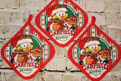 Vintage GARFIELD the CAT Christmas Holiday Hot Pads Pot Holders 1978
