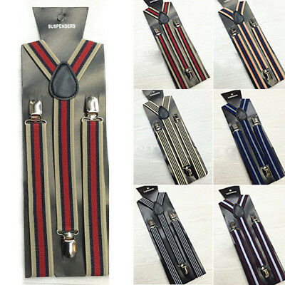 Fashion Striped Mens Womens Adjustable Braces Elastic Y-Shape Clip-on Suspenders