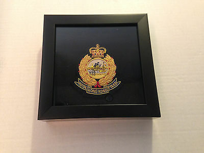 "Royal Hong Kong Police Obsolete Bullion Crest Embroi badge w/shadow box 7x7""A"