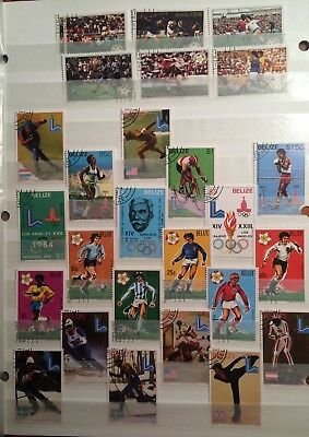 postage stamps Belize  lot of 26 sports       O