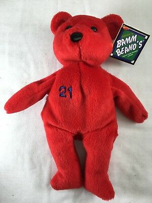 Salvino Bammer's Plush Beanie BEAR MLB Sammy Sosa Orange